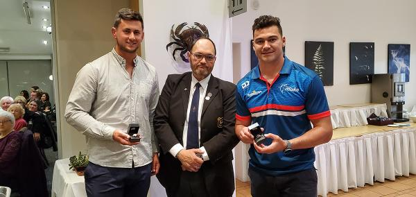 Shane Graham presenting club rings to our All Blacks David &  Quinten